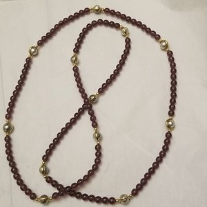 Long Faux Garnet  & Pearl Necklace